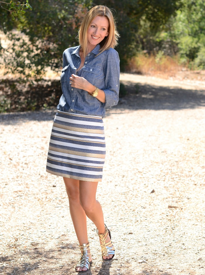 Jcrew Striped Skirt